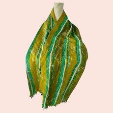 Vintage Vera Very Long Stripes Print Silk Scarf with Fringe
