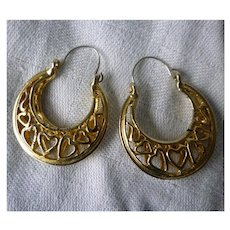 Openwork Sweet Hearts Large Goldtone Hoops Pierced Earrings