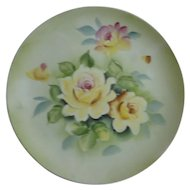 Beautiful Lefton China Hand Painted Roses Plate #SL5936 With Hanger