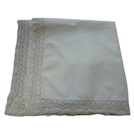 Creamy Soft White Linen Tablecloth with Elaborate Crochet Edge Trim