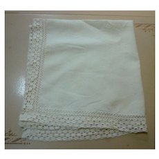 Creamy Soft White Linen Tablecloth with Fancy Crochet Edge Trim