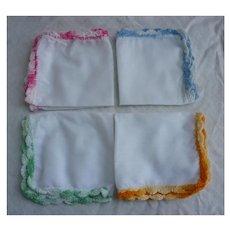 Set of 4 Pastel Crochet Edges Vintage Handkerchiefs