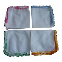 Set of 4 Pastel Crochet Edges Vintage Handkerchiefs