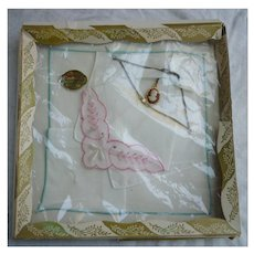 Set of 2 Swiss Vintage Handkerchiefs in Original Box with Cameo Necklace