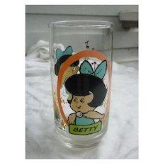 Vintage 1986 Flintstones Kids Betty Pizza Hut Glass