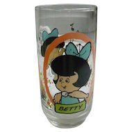 Vintage 1986 Flintstones Kids Betty Pizza Hut Glass