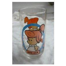 Vintage 1986 Flintstones Kids Wilma Pizza Hut Glass