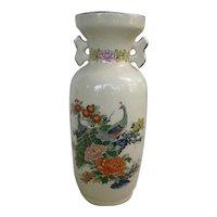 Large Japan Satsuma Style Vase Peacocks and Chrysanthemums