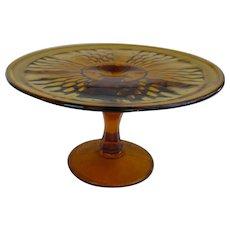 Amber Glass Pedestal Cake Stand