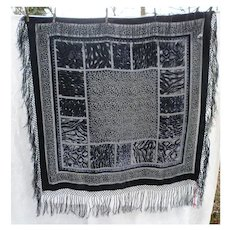 Fabulous Leopard Print Black and Gray Rayon Velvet and Silk Fringed Gypsy Piano Shawl