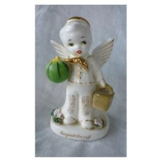 Vintage Napco Japan Ceramic August Birthday Boy Angel Figurine with Picnic Basket and Watermelon