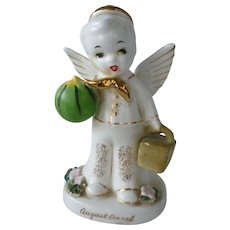 Vintage Napco Japan Ceramic August Birthday Boy Angel Figurine with Picnic Basket and Watermelon