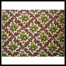 Rich Red and Golden Flowers and Scrolls Vintage Barkcloth Piece
