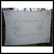 Lovely White Linen with Embroidered X Stitch Pink and Red Flowers Tablecloth