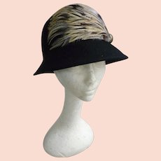 714f74934d4 Vintage Black Wool Cloche Hat Trimmed with Feathers Jessica Simpson Label