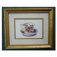 Colorful Tea Cup and Saucer Chintz Flowers Print Framed Signed