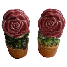 Red Roses in Flowerpots Ceramic Salt and Pepper Set