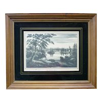 The Hudson River View Near Fort Miller 1825 Facsimile Print Framed