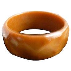 Honey and Caramel Faceted Chunky Lucite Bangle Bracelet
