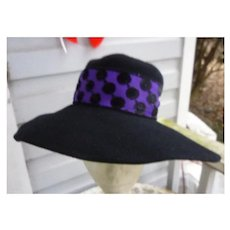 Mr Charles Vintage Black Wool Hat with Fancy Purple and Black Trim