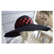 Mr Charles Vintage Black Wool Hat with Fancy Red and Black Trim