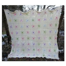 Colorful Squares on Creamy Quilt Blocks Crochet Bedspread