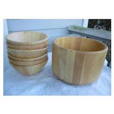 Large Dansk Staved Teak Salad Bowl and Six Individual Bowls Set