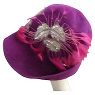 Fabulous Fuschia Hat Hot Pink Feathers Glittering Sequins