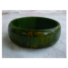 Spinach Green Yellow Orange Swirls Bakelite Bangle