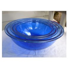 Pyrex Blue Cobalt Flattened Rim Mixing Bowls 323, 325, 328