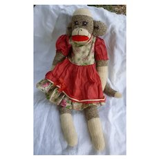Vintage Hand Made Rockford Red Heel Sock Monkey Letha