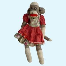 Vintage Hand Made Rockford Red Heel Sock Monkey Letha