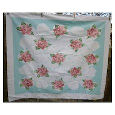 Pink Roses Aqua Blue Ribbons Vintage Print Tablecloth