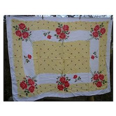 Red Roses and Rosebuds on Yellow Vintage Print Linen Tablecloth