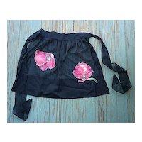 Sheer Black Applique Flowers Pocket Vintage Hostess Apron
