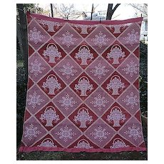 Terra Cotta and White Flower Basket Pattern Vintage Blanket