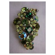 Green Grapes Cluster Weiss Rhinestone and Enamel Brooch