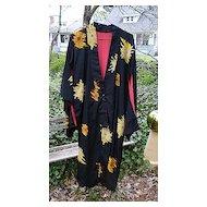 Chrysanthemums Vintage 40's 50's Rayon Crepe Kimono