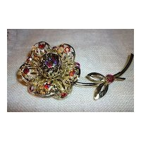 Sarah Coventry Fashion Flower Brooch Aurora Borealis Rhinestones