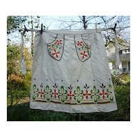Heavy Linen Embroidered Flowers Vintage Apron