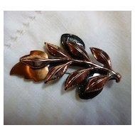 Signed Renoir Copper Layered Laurel Leaves Brooch