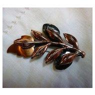 Signed Renoir Copper Layered Laurel Leaves Brooch