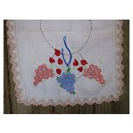Hearts and Flowers Hand Embroidered Dresser Scarf Runner