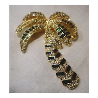 Sparkling Rhinestones Green Enamel Palm Tree Pin Brooch