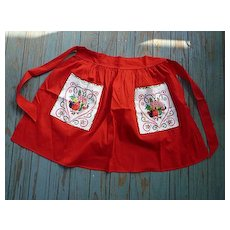 Red with Penn Dutch Print Pockets Vintage Apron