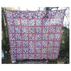 Very Pretty 1930's Pink and Prints Fabrics Yo Yo Quilt