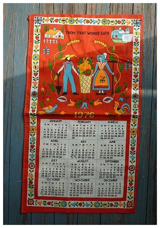 Penn Dutch Farmer 1976 Calendar Towel Mwt Chez Marianne Ruby Lane