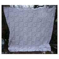 Romantic Roses Quilt Blocks Pattern White Crochet Bedspread