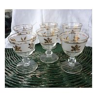 Libbey Frosted Gold Leaf Footed Sherry or Port Glasses Set of 6