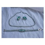 Aquamarine Rhinestones Necklace, Bracelet Earrings Demi Parure